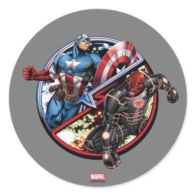 Captain America Versus Red Skull Classic Round Sticker