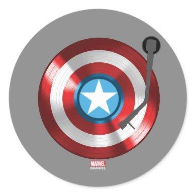 Captain America Vinyl Record Player Classic Round Sticker