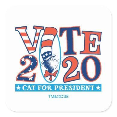 Cat in the Hat   Vote 2020 Square Sticker