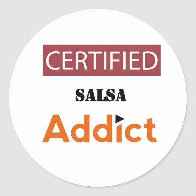 Certified Salsa Addict Classic Round Sticker