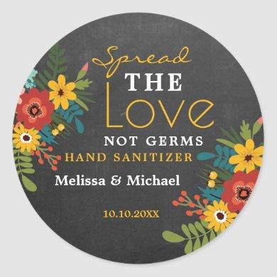 Chalkboard Spread Love Hand Sanitizer Wedding Classic Round Sticker