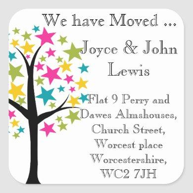 Change of Address colorful star family tree Square Sticker