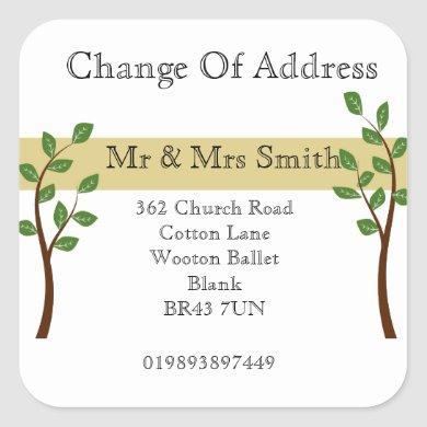 Change of Address gold band Square Sticker