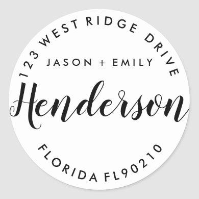 Change of address, new home, return address classic round sticker