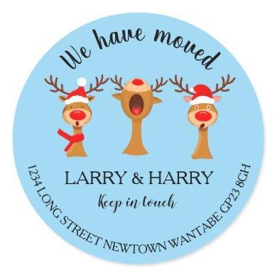 Change of Address sticker christmas carol reindeer