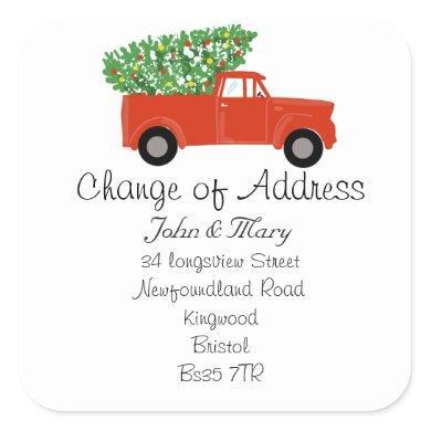 Change of Address sticker christmas tree