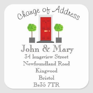Change of Address sticker front door