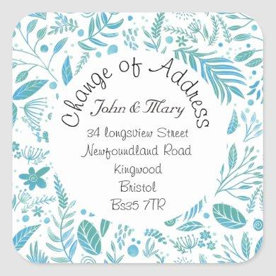 Change of Address sticker teal and blue pattern