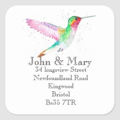 Change of Address sticker watercolour bird