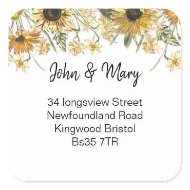 Change of Address sticker wildflower sunflower