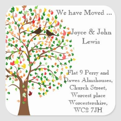 Change of Address Stickers autumn fall family tree