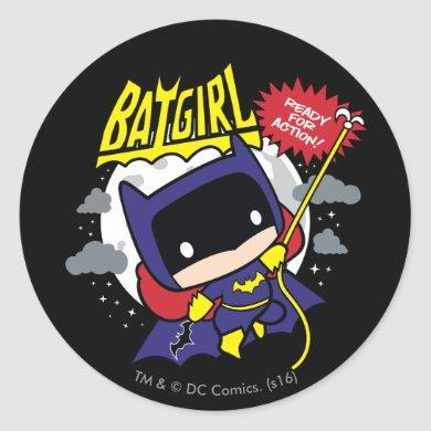 Chibi Batgirl Ready For Action Classic Round Sticker