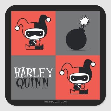 Chibi Harley Quinn Checker Pattern Square Sticker