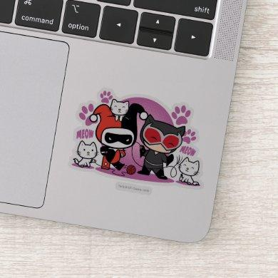 Chibi Harley Quinn & Chibi Catwoman With Cats Sticker