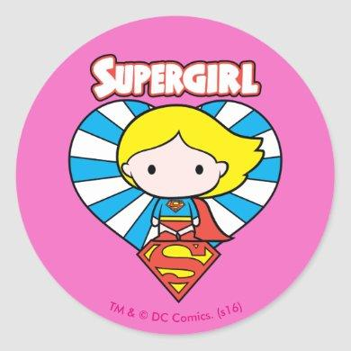 Chibi Supergirl Starburst Heart and Logo Classic Round Sticker