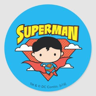 Chibi Superman Polka Dot Shield and Name Classic Round Sticker