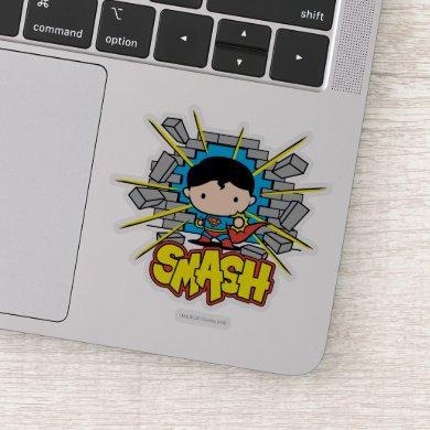 Chibi Superman Smashing Through Brick Wall Sticker