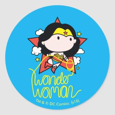 Chibi Wonder Woman Flying With Lasso Classic Round Sticker
