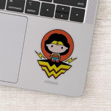 Chibi Wonder Woman With Polka Dots and Logo Sticker