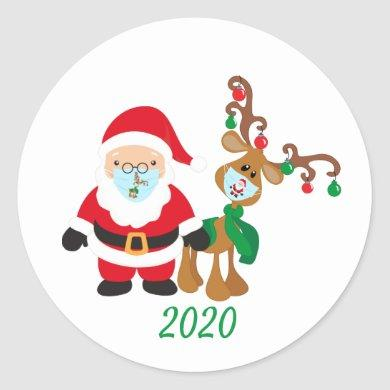 Christmas 2020 Santa Reindeer Quarantine Classic Round Sticker