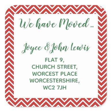 christmas Chevron Change of Address Stickers