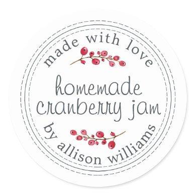 Christmas Homemade Cranberry Jam Canning Classic Round Sticker