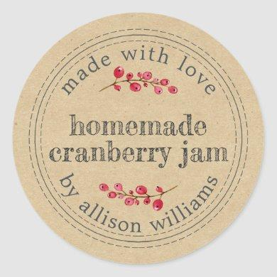 Christmas Homemade Cranberry Jam Classic Round Sticker