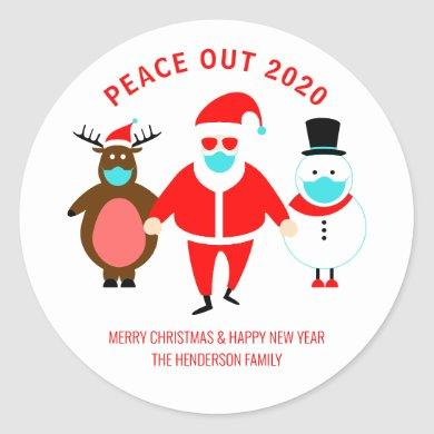 Christmas Peace Out 2020 Santa Face Mask Custom Classic Round Sticker