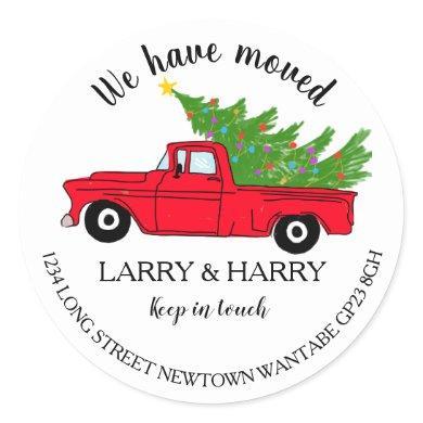 Christmas red truck tree Change of Address tree Classic Round Sticker