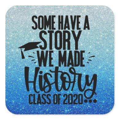 Class of 2020 Blue Black Graduation Party Favor Square Sticker