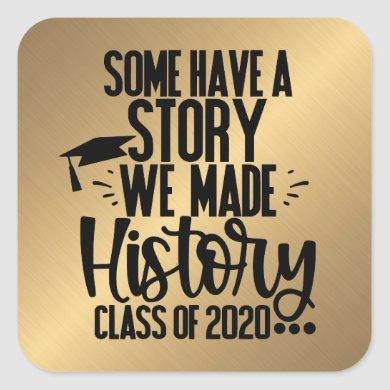 Class of 2020 Golden Black Graduation Party Favor Square Sticker