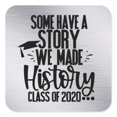 Class of 2020 Silver Black Graduation Party Favor Square Sticker