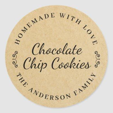 Classic Brown Kraft Personalized Baking Gift Classic Round Sticker