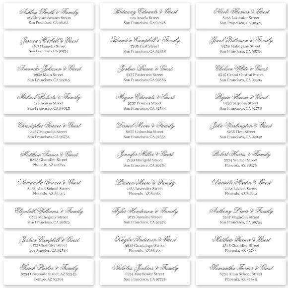 Classic Cursive Script Wedding Guest Names Address Sticker