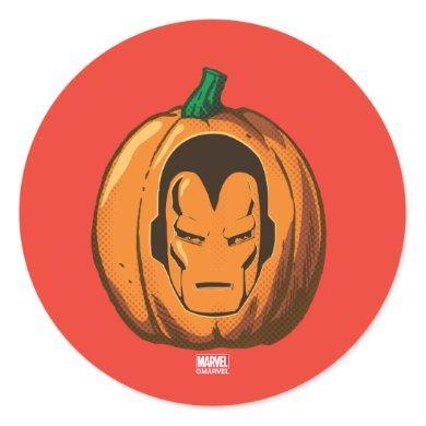 Classic Iron Man Logo Jack-o-lantern Classic Round Sticker
