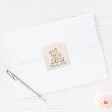 Classic Pooh | Baby Shower Thank You Square Sticker
