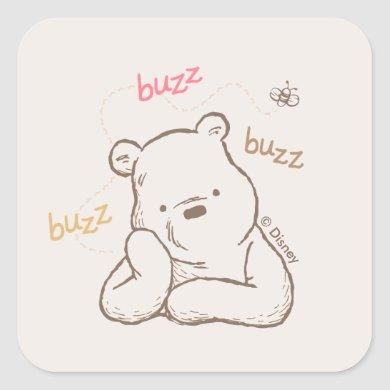 Classic Pooh | Buzz Buzz Buzz Square Sticker