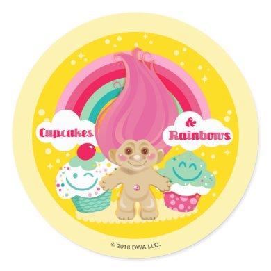 Classic Trolls | Cupcakes & Rainbows Classic Round Sticker