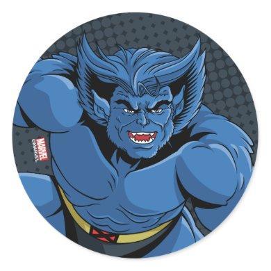 Classic X-Men   Beast Three-Point Landing Classic Round Sticker