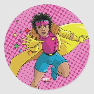 Classic X-Men | Jubilee Throwing Fireworks Classic Round Sticker