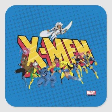 Classic X-Men   X-Men Character Pattern Square Sticker