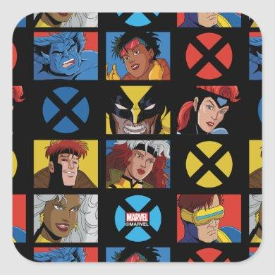 Classic X-Men   X-Men Hero Character Grid Square Sticker