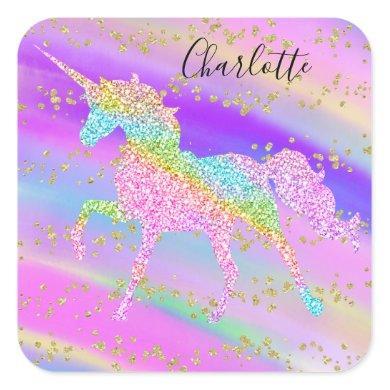 Colorful Pink Gold Glitter Sparkle Unicorn Rainbow Square Sticker