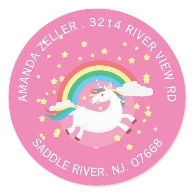 Colorful Unicorn Return Address Label