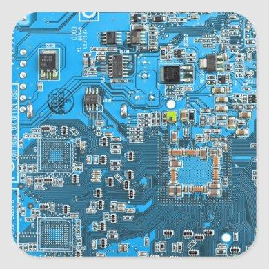 Computer Geek Circuit Board - blue Square Sticker