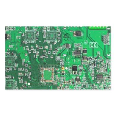 Computer Geek Circuit Board - green Rectangular Sticker