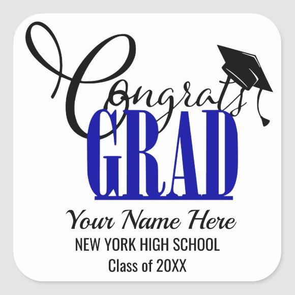 Congrats Grad Blue Black Graduation Party Favor Square Sticker