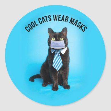 Cool Cats Wear Masks Classic Round Sticker