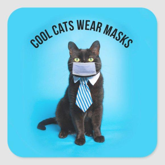 Cool Cats Wear Masks Square Sticker