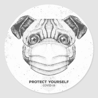 COVID-19 PUG WITH FACE MASK CUSTOMIZABLE STICKER